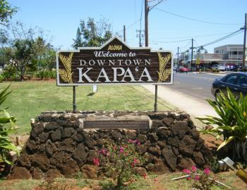 Downtown Kapaa Kauai Welcome Sign