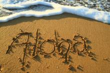 aloha written in sand kauai